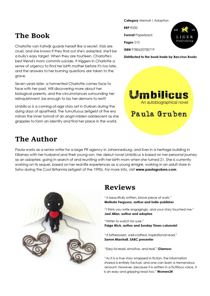 Advance Info - Umbilicus - Paula Gruben - Bacchus Books (April 2018)